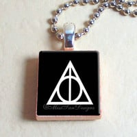 "Scrabble Jewelry, Deathly Hallows Harry Potter Black Background, Necklace, Pendant, 24"" chain included"