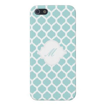 Blue Moroccan Pattern with Monogram iPhone 5 Cases