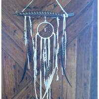 Leather and lace. OOAK bohemian dream catcher // ready to ship, windchime, boho, home decor // ready to ship