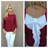 Burgundy & White Bow Back Blouse