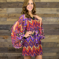Waverly Cabin Red & Purple Bell Sleeve Dress