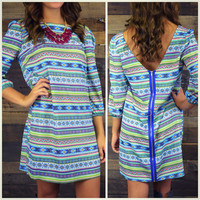 William Bluffs Cobalt Blue Tribal Print Dress