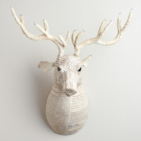 White Canvas Reindeer Bust | World Market