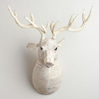 White Canvas Reindeer Bust - World Market