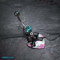Vintage Floral Heart Bow-Tie Belly Button Ring