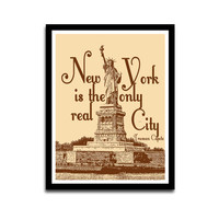 New  York Lovers Brown Typography Poster Wall Art