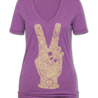 Peace Fingers Women's V-Neck T-Shirt: Soul-Flower Online Store