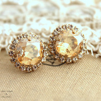 Topaz champagne Rhinestone Crystal stud earring bridesmaids gifts bridal earrings - 14k 1 micron Thick plated gold earrings real swarovski.