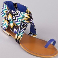 Bamboo Bloom-64 Bow Flat Printed Sandal
