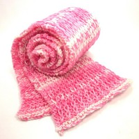 Pink and White Stripe Hand Knitted Scarf Breast Cancer Awareness
