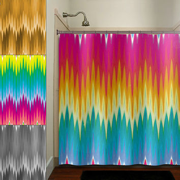 multi color ikat rainbow colorful chevron shower curtain bathroom