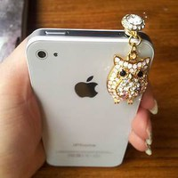 Swarovski Crystal Owl Anti-dust Dock Earphone Plug Stopper for Smartphone iPhone | eBay