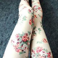 Rose Leggings Pantyhose JCHBC from psiloveyoumoreboutique