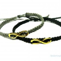 Infinity Bracelet Set Grey and Black Hemp Jewelry Adjustable His Hers by MandarrHempCreations