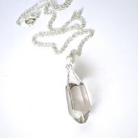 silver dipped clear faceted raw quartz pendant necklace rough crystal