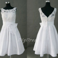Princess Lace Bodice Taffeta Skirt Short Wedding Gowns,Bridal Wedding Dresses,Little White Dresses