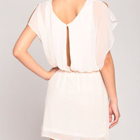 Layered Peepback Dress in Ivory