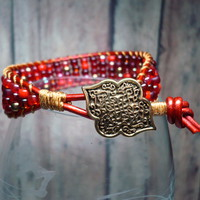 Moroccan Red Leather and Miyuki Red Mix Seed Bead Cuff Bracelet