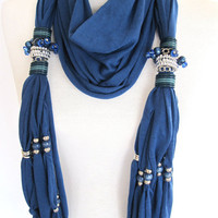 SULTANA Scarf Decorated With Crystals Beads by mediterraneanlights
