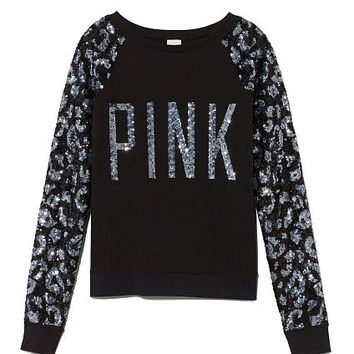Allover Bling Raglan Crew - Victoria's Secret