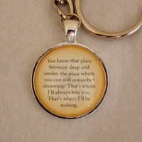Peter Pan Quote Keychain. You Know That Place Quote Keychain. Silver Tone keychain.