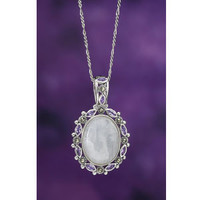 Moonstone Amethyst and Marcasite Sterling Pendant - New Age, Spiritual Gifts, Yoga, Wicca, Gothic, Reiki, Celtic, Crystal, Tarot at Pyramid Collection