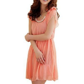 Allegra K Women Plastic Pearl Detail Scoop Neck Short Sleeve Mini Dress