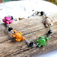 Sea Turtle Jewelry from Hawaii, Hawaiian Honu bracelet by Mermaid Tears