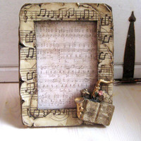 Vintage Resin Music Frame, easel back, music insert, Holiday decor, shabby decor