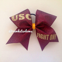 USC Fight On Cheer Bow Cheerleading Glitter Bow by RAWkstarBows