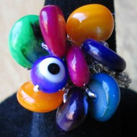 Multicolor beaded crochet stretch ring - blue-eye good luck ring
