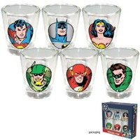 DC Comics Superheroes Set of 6 Shot Glasses