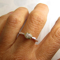 Raw White Diamond Twig Ring - 18k Gold and Sterling Silver - Engagement Ring