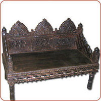 Carved Bench, Asian bench, Indian bench, mogul furniture