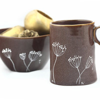 Hand Painted Ceramic Mug Purple Autumn Fall Coffee Mug Queen Anne's Lace  Design Minimal Kitchen Decor