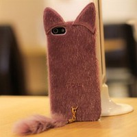 Colorful Protective Snap On Case for iPhone 4/4S Frizzy Downy Cute Cat with Tail Purple