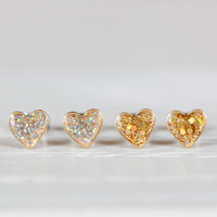 Sparkle Mini Heart Post Earrings - Hypoallergenic Studs