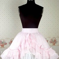 Sweet Pleasant Pink Bow Flounce Pleated Lolita Skirt