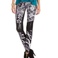 Pieced PU Tribal Legging: Charlotte Russe