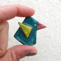 Ceramic Brooch / Tweet // Petrol / Lime Green / Burgundy Red | Luulla