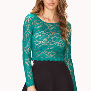 FOREVER 21 Poetic Floral Lace Crop Top