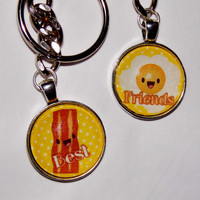 Bacon And Eggs Best Friends Keychain Set. BFF Keychain Set.