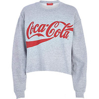 Grey Coca Cola print cropped sweatshirt