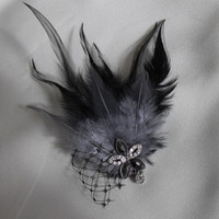 Vintage Black and Grey Fascinator