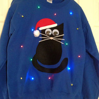 Light-up ugly Christmas sweater! - Christmas Kitty