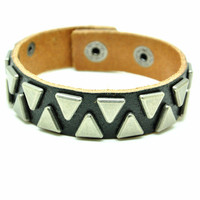 Black Real Leather Bracelet with Rivet Women Jewelry Bangle Fashion Bracelet, Men bracelet   C031
