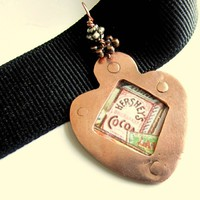 Vintage Tin and Copper Handforged Pendant with Hershey Cocoa Signage
