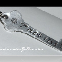 Hand Stamped Accio Keys Harry Potter Custom Keychain