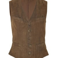 Ralph Lauren Blue Label - Snuff Washed Suede Blossom Vest