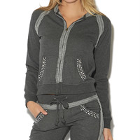 Embellished Zip Up Hoodie | Shop Just Arrived at Wet Seal